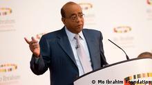Mo Ibrahim, Vorsitzender der Mo-Ibrahim-Stiftung bei der Vorstellung des Mo-Ibrahim-Indexes 2013 am 14. Oktober 2013 in London zugeliefert von: Friederike Müller copyright: Mo Ibrahim Foundation