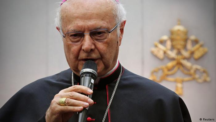Archbishop Robert Zollitsch, head of the German Bishops' Conference, speaks during a news conference in the Vatican October 14, 2013. Limburg bishop Franz-Peter Tebartz-van Elst is under fire for huge cost overruns in the building Photo: Reuters