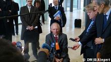 Bundesfinanzminister Wolfgang Schäuble, CDU, beim Finanzministertreffen der Europäischen Union in Luxemburg, Pressebriefing. Aufgenommen in Luxemburg 14.10.2013 zugeliefert von: Bernd Riegert copyright: DW/ Bernd Riegert