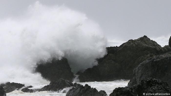 High waves pound a beach on Cape Muroto in Kochi Prefecture