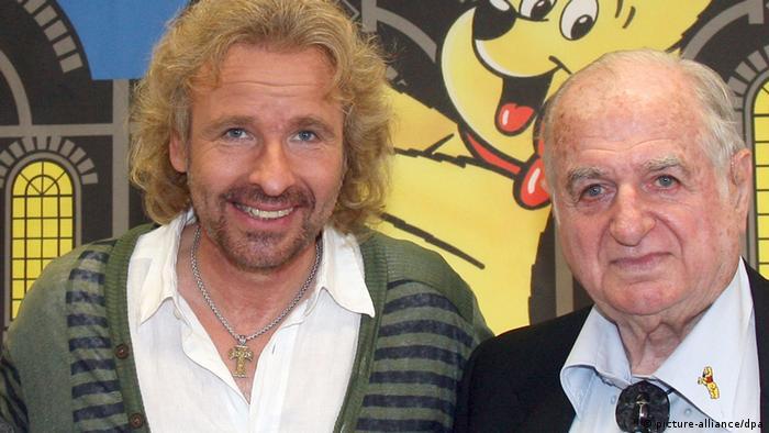 Showmaster Thomas Gottschalk (l.) und der Haribo-Chef Hans Riegel (Foto: dpa)