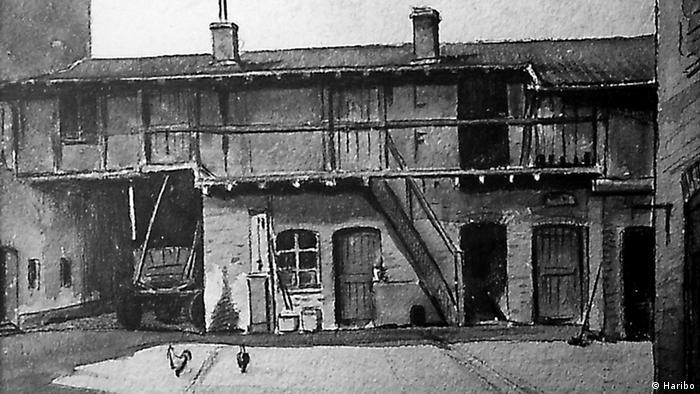 Die erste Haribo-Fabrikationsstätte, eine Hinterhof-Waschküche in Bonn-Kessenich (Pressebild/ Haribo)