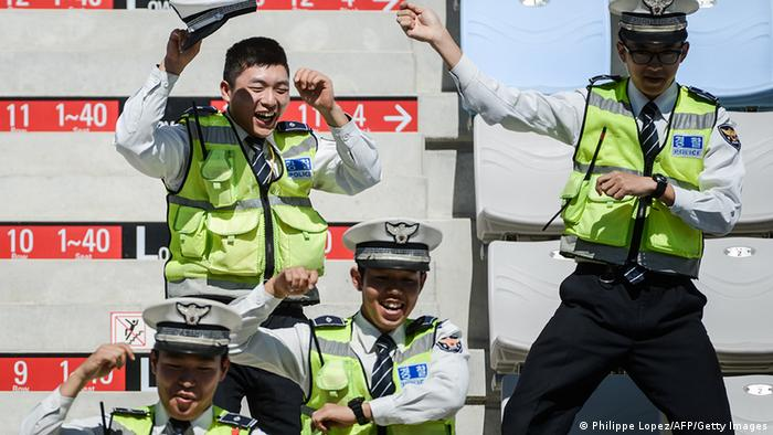 South Korean police doing the Gangnam Style dance in 2012