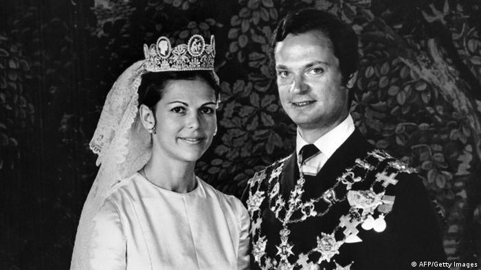 Сильвия и Карл Густав во время бракосочетания (19 июня 1976 года)