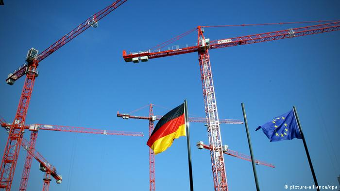 German flag, cranes