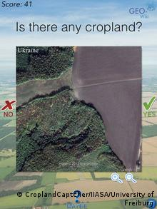 Screenshot of the Geo-Wiki project game, CroplandCaptcher. (Photo: CroplandCaptcher/IIASA/University of Freiburg)