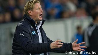 Markus Gisdol gestures during Hoffenheim's 2-1 loss to Leverkusen on October 18. Photo: dpa