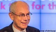Herman Van Rompuy, President of the European Council. Ort / Datum: The 2013 Innovation Summit, 10 October 2013, Brussels. Copyright: Courtesy of @mbargo. Geliefert von James Panichi (freiberuflicher Korrespondent, Brussel) - via Chrysoula Mitta, The Lisbon Council