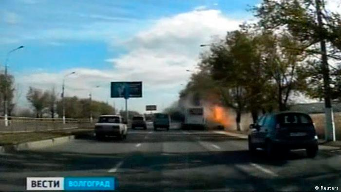 An explosion on a bus in the south Russian city of Volgograd is seen in a still image taken from video footage shown on Russian television channel Rossiya 24 (REUTERS/Rossiya 24))