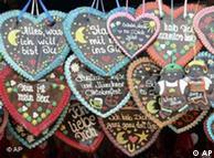 Lebkuchen em forma de coração é um item que não falta nos mercados de Natal