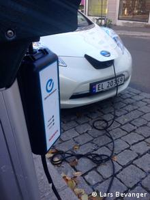 Free charging for electric cars in Norwegian cities Copyright: Lars Bevanger
