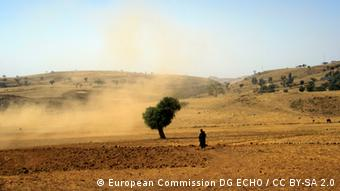 A man stands alongside a lone tree on a sparse landscape(Foto: European Commission DG ECHO / CC BY-SA 2.0)