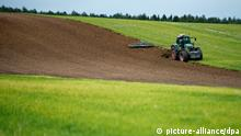 Ein Landwirt pflügt mit seinem Traktor am 23.09.2013 einen Acker im Landkreis Märkisch-Oderland nahe Petershagen (Brandenburg). Der Boden wird für die Wintersaat vorbereitet. Foto: Patrick Pleul/ZB