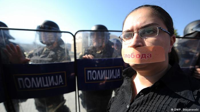 Proteste von Journalisten in Skopje (Copyright: DW/Petr Stojanovski)