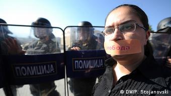 Proteste der Journalisten 23.10.2013 in Skopje