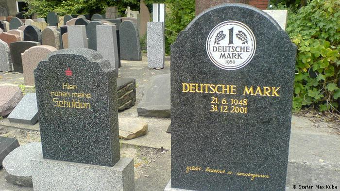 Tombstone for Deutsche Mark, Germany's former currency, which was alive from 1948 (in West Germany), or 1990 (in reunified Germany) until 2002, when the euro took over.