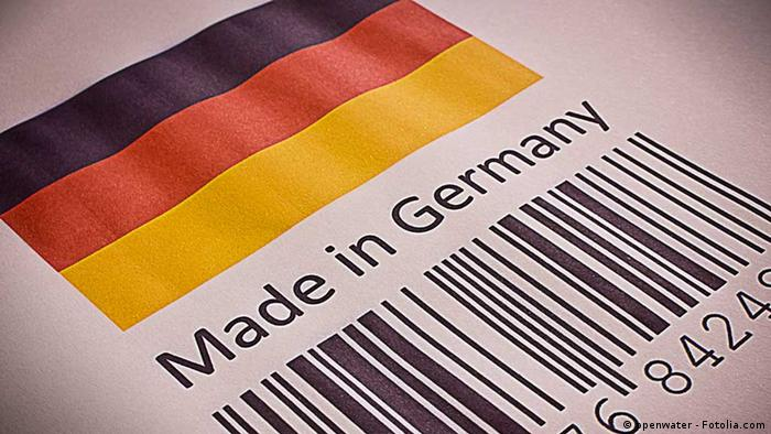 A bar code with the German flag and Made in Germany written on it