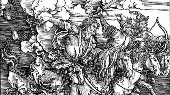 Work by Dürer of four riders on horses wielding various medieval weapons, reflecting the Biblical story of the four riders of the apocalypse