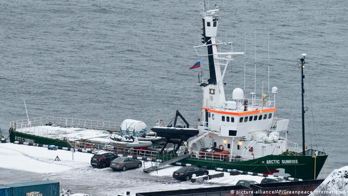 In this photo released by Greenpeace International and made Sunday, Oct. 20, 2013, The Greenpeace ship Arctic Sunrise is docked in the port of Murmansk, Russia. The Arctic Sunrise was seized nearly four weeks ago by Russian security forces after some activists tried to scale an offshore oil platform. Russian investigators charged the entire 30-member crew of the Greenpeace ship with piracy for a protest at a Russian oil platform in the Arctic. (AP Photo/Greenpeace International, Dmitri Sharomov) PHOTO PROVIDED BY GREENPEACE INTERNATIONAL. AP PROVIDES ACCESS TO THIS HANDOUT PHOTO TO BE USED SOLELY TO ILLUSTRATE NEWS REPORTING OR COMMENTARY ON THE FACTS OR EVENTS DEPICTED IN THIS IMAGE. PHOTO MADE FRIDAY, OCT. 18, 2013