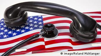 US flag and telephone