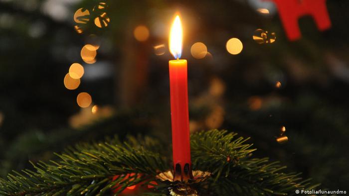 Brennende Christbaumkerze auf einem Christbaumzweig