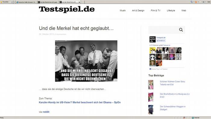 Скриншот фотоколлажа сосмеющимся Обамой и надписью: Меркель и правда верила, что она единственная немка, за которой мы не следим....