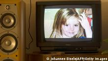 A photo of British girl Madeleine McCann aka Maddie is displayed on a TV screen at an appartmen in Berlin, on October 16, 2013 during the broadcast of German ZDF's 'Aktenzeichen XY' programme. The German broadcaster received more than 500 phone calls and emails after airing the programme on the 2007 disappearance of British toddler Madeleine McCann in Portugal, the station said on October 16, 2013. The appeal, based on two years of work raking over the case by Scotland Yard's officers, was first broadcast in Great Britain on the BBC's 'Crimewatch' programme. AFP PHOTO / JOHANNES EISELE (Photo credit should read JOHANNES EISELE/AFP/Getty Images)
