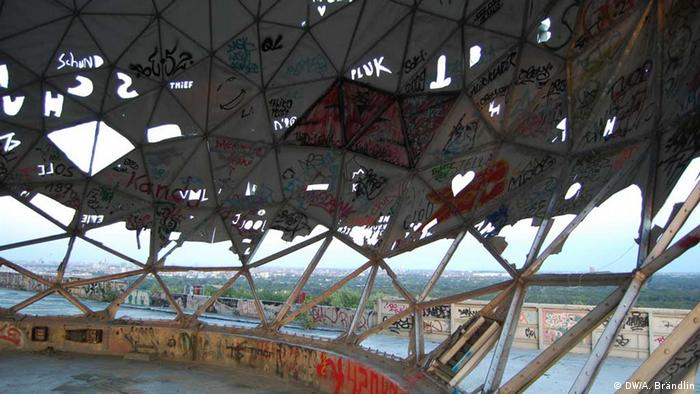 View from the inside of one of the radar domes Photo: Anne-Sophie Brändlin, am 27.08.2012 in Berlin