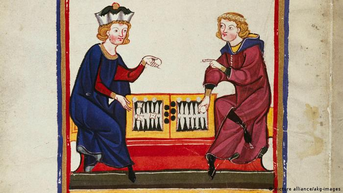 Codex Manesse Minnesänger beim Brettspiel Backgammon