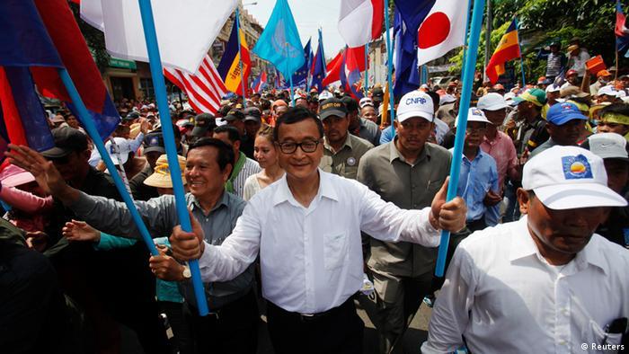 Sam Rainsy Demo Opposition Kambodscha 25.10.2013