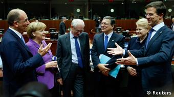 (From L to R) Italy's Prime Minister Enrico Letta, Germany's Chancellor Angela Merkel, European Council President Herman Van Rompuy, European Commission President Jose Manuel Barroso, Lithuania's President Dalia Grybauskaite and Netherlands' Prime Minister Mark Rutte attend an European Union leaders summit in Brussels October 25, 2013. German Chancellor Merkel demanded on Thursday that the United States strike a no-spying agreement with Berlin and Paris by the end of the year, saying alleged espionage against two of Washington's closest EU allies had to be stopped. REUTERS/Francois Lenoir (BELGIUM - Tags: POLITICS)