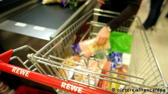 A shopping cart in a German supermarket