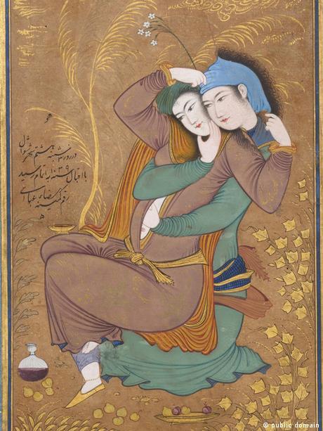 دو عاشق، اثر رضا عباسی، از هنرمندان عصر صفوی؛ تاریخ اتمام این مینیاتور ۱۰۳۹ هجری قمری است