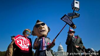 Members and supporters of 'Stop Watching Us', a coalition of more than 100 public advocacy groups, protest against National Security Agency (NSA) surveillance near the US Capitol in Washington DC, USA, 26 October 2013EPA/JIM LO SCALZO