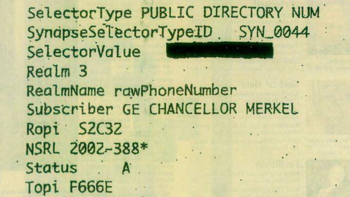 NSA Abhörskandal Handy Merkel Dokument Ausschnitt