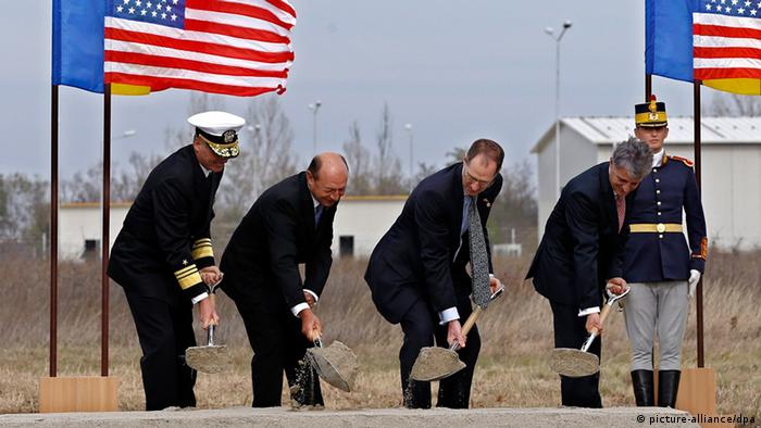 Romanian President Traian Basescu (2nd L) at the official groundbreaking ceremony held at Aegis Ashore Facility at Deveselu, Romania.
