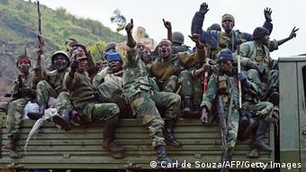 Wanajeshi wa Kongo wakifurahia ushindi dhidi ya M23.