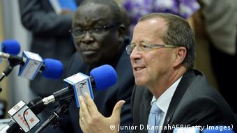 GettyImages 178265177 The head of the UN Stabilization Mission in the Democratic Republic of Congo (MONUSCO) and special envoy of the UN secretary-general, Martin Kobler (R), gives a press conference on August 28, 2013 at the headquarters of the UN peacekeeping mission in Kinshasa. UN attack helicopters joined Congolese government troops in an operation on August 28 against rebels in the east of the Democratic Republic of Congo, the UN peacekeeping force said. The operation against M23 rebels in the hills of Kibati north of the regional capital Goma also involved UN and DR Congo army artillery. AFP PHOTO / JUNIOR D. KANNAH (Photo credit should read JUNIOR D.KANNAH/AFP/Getty Images)