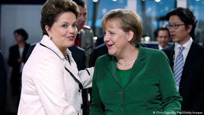 Symbolbild Beziehung Brasilien Deutschland: Angela Merkel und Dilma Rousseff