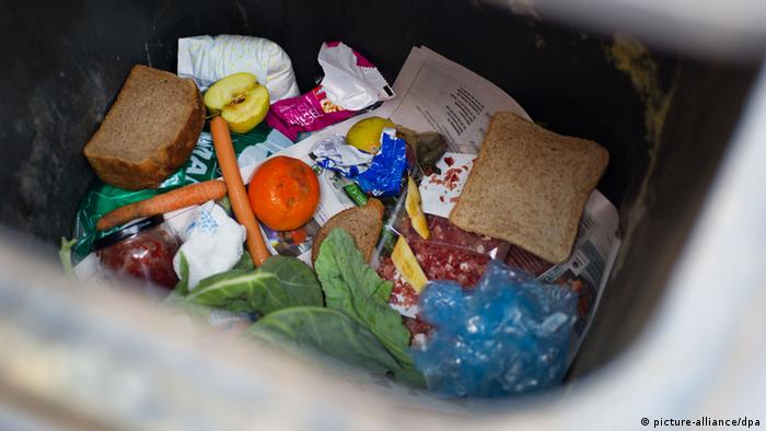 Wasted food in a bin