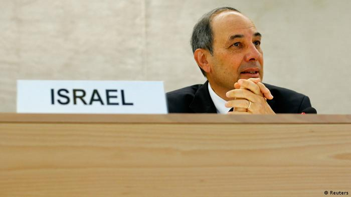 Eviatar Manor, Israeli ambassador to the UN, waits for the start of the Human Rights Council Universal Periodic Review session at the European headquarters of the United Nations in Geneva (Photo: REUTERS/Denis Balibouse)