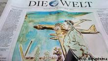 NUR IN VERBINDUNG MIT NEO RAU UND DIE AUSGABE DER WELT ZU VERWENDEN Deutsche Zeitungen vom 30. Oktober 2013. Die Ausgabe der Zeitung Die Welt wurde an diesem Tag vom Maler Neo Rauch gestaltet. Foto DW/Daria Bryantseva
