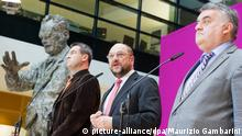 Bayerns Finanzminister Markus Söder (CSU, l-r), der Präsident des Europäischen Parlaments, Martin Schulz (SPD) und der Vorsitzende der CDU/CSU-Gruppe im Europäischen Parlament, Herbert Reul, geben am 30.10.2013 im Willy-Brandt-Haus in Berlin eine Pressekonferenz. Spitzenvertreter von CDU, CSU und SPD trafen sich zu weiteren Koalitionsverhandlungen nach der Bundestagswahl 2013 in der Parteizentrale der Sozialdemokraten. Foto: Maurizio Gambarini/dpa