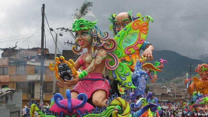 A colored float from the the Blacks and Whites' Carnival.