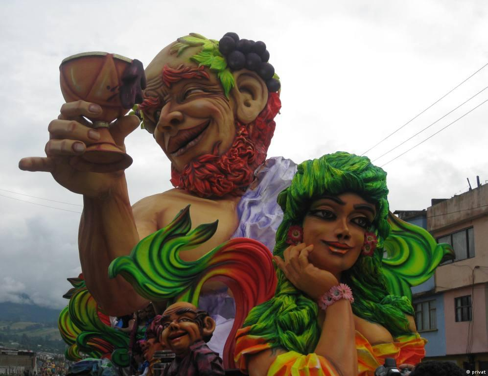 Colored figures on the carnival floats.