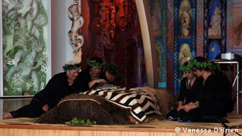 Maori mourn over their ancestors' remains at Te Papa Museum Marai (meeting house), Wellington. Copyright: Vanessa O'Brien