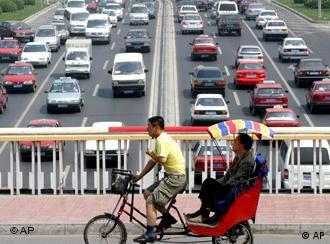 Un puente elevado en pleno centro de Pekín.