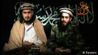 Taliban leader Hakimullah Mehsud (L) sits beside a man who is believed to be Humam Khalil Abu-Mulal Al-Balawi, the suicide bomber who killed CIA agents in Afghanistan, in this file still image taken from video released January 9, 2010. (Photo: REUTERS/Tehrik-i Taliban Pakistan via Reuters TV/Files)
