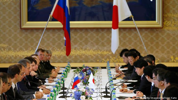 Russia's Foreign Minister Sergey Lavrov (5th L) and Defence Minister Sergei Shoigu (6th L) and Japan's Foreign Minister Fumio Kishida (5th R) and Defense Minister Itsunori Onodera (6th R) attend their Japan-Russia foreign and defence ministers meeting two-plus-two at the Iikura guest house in Tokyo on November 2, 2013. AFP PHOTO / POOL / Issei Kato (Photo credit should read ISSEI KATO/AFP/Getty Images)