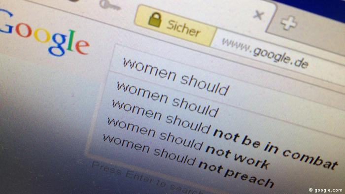 a computer screen image of a Google search for the words, Women Should 02.11.2013 Marko Langer DW, Bonn